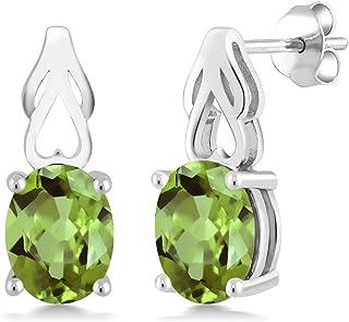 Gem Stone King Sterling Silver Green Peridot Gemstone Birthstone Women Earrings (2.70 cttw, 9X7MM Oval)