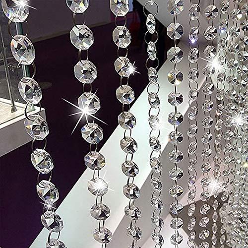 Clarashop Vorhang aus Kristallperlen Acryl String Vorhang Panel Perlen Tür Vorhang Perlgardine Kristall Garland Glasperlen Kette Für Tür Decor (Weiß) 2 STÜCKE