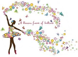 YHFFQ Pegatinas de Hadas de Flores de Mariposa Dormitorio Pegatinas de Pared de Sala de Estar para Habitaciones de niños Calcomanías de Arte de Pared Adesivo De Parede para Quarto
