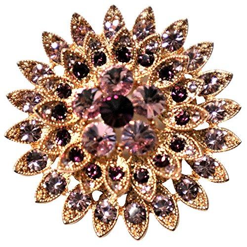 Broche de cristal austriaco con diseño de flores moradas