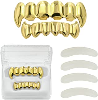 Best Gold Grills for Your Teeth 18K Gold Plated Hip Hop Custom Fit Polished Teeth Grillz for Men and Women with 4 Silicon Molding Bars Rapper Costume Review