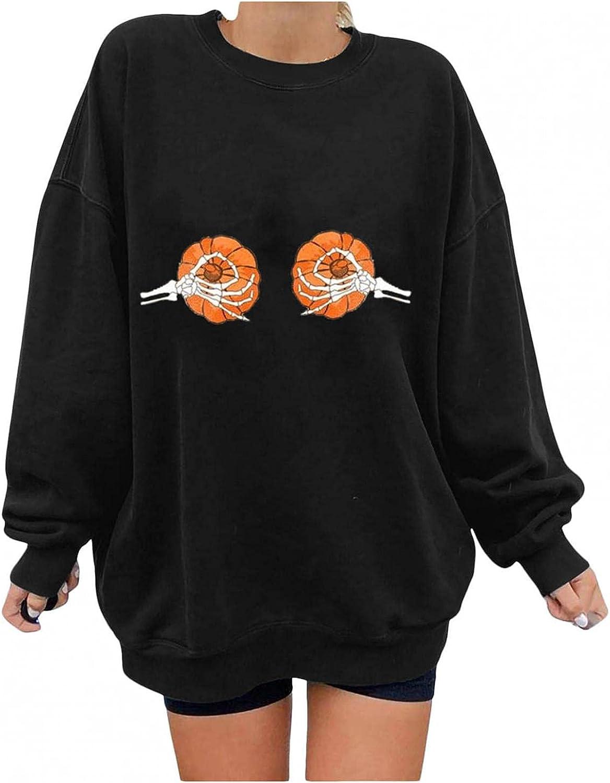 Halloween Women's Max 47% OFF Casual Skeleton Hands Boobs Print Sleeve Denver Mall Long