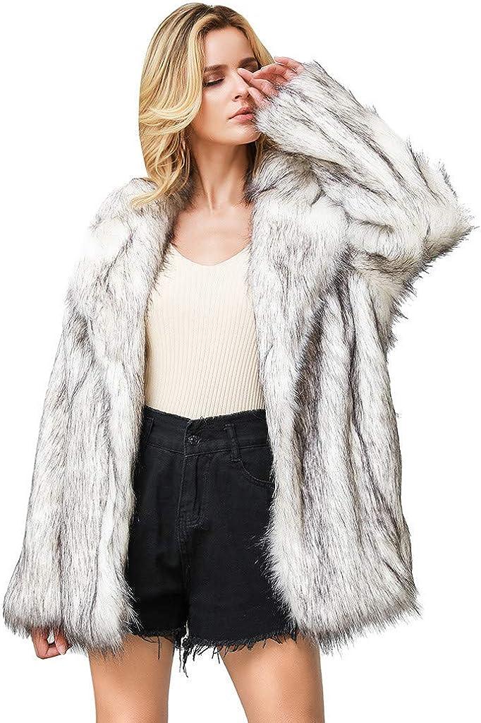 HGWXX7 Womens Cardigans Oversized Open Front Fluffy Faux Fur Jacket Vinatge Long Sleeve Plus Size Lapel Winter Coats Gray