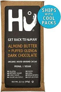 Hu Vegan Chocolate Bars | 8 Pack Almond Butter Puffed Quinoa Chocolate | Gluten Free, Paleo, Non GMO, Kosher Dark Chocolate | 2.1oz Each
