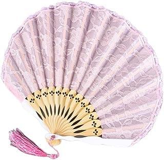 Abanicos Plegable Abanico Plegable de Encaje Vintage con Abanico Abanico Ventilador Femenino Viento Antiguo Borla portátil Ventilador pequeño Verano Regalos (Color : Pink B)