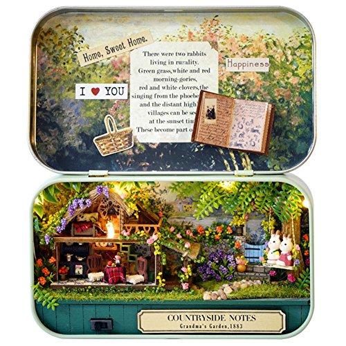 DIY Puppenhaus Mini Welt in Box, DIY Dollhouse 3D Holz Miniatur haus Kit Handmade Weihnachten/Birthday Gift Box Theater Haus mit LED Licht Geschenk Spielzeug für Kinder und Freunde