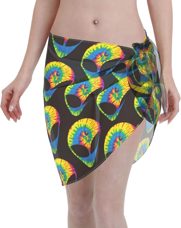 Rainbow Tie Dye Alien Women Short Sarongs Beach Wrap Swimsuit Cover Ups Sheer Short Skirt Bikini Chiffon Scarf