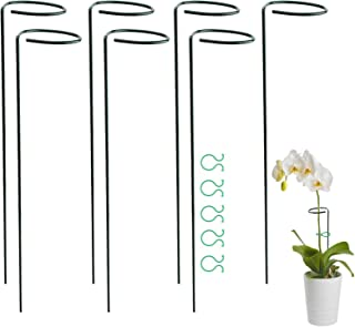 AIEX 7pcs 15.8inch Plant Support Stakes with 20pcs Plant Twist Ties Steel Garden Single Stem Support Stake Plant Cage Support Ring for Flower Lily Rose Peony Tomatoes