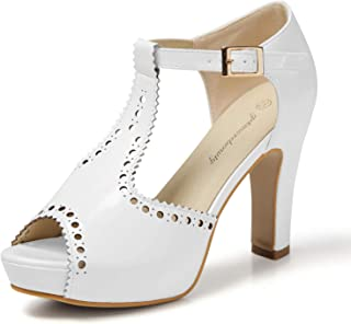 getmorebeauty Women's Vintage Suede Ankle T Straps Dress Block Heeled Sandals Shoes