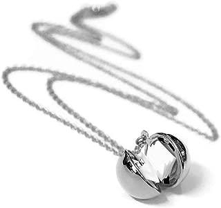 Secret Message Ball Locket Necklace Pendant for Women Girls Birthday Long Chain