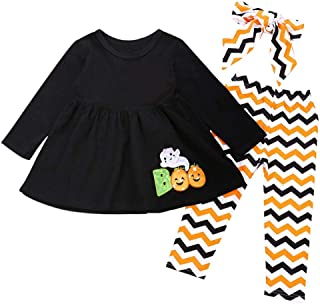 Baby Girls Halloween Clothes,Leegor Infant Toddler Pumpkin Bow Long Sleeve Party Romper Dress Clothes