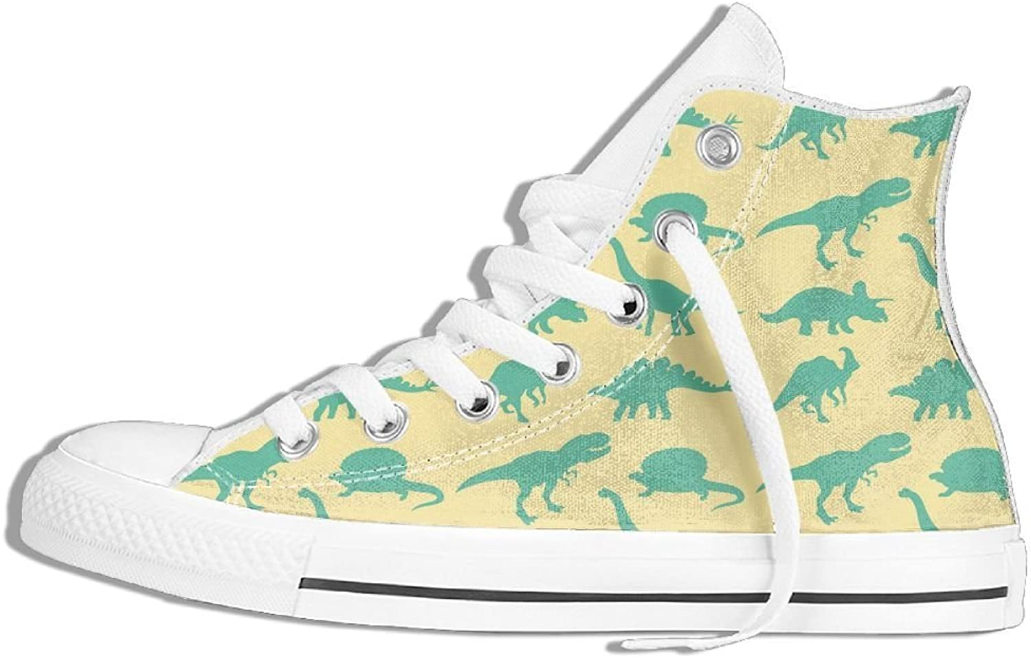 Unisex Classic Canvas shoes Green Dinosaur Fashion High Top Sneakers