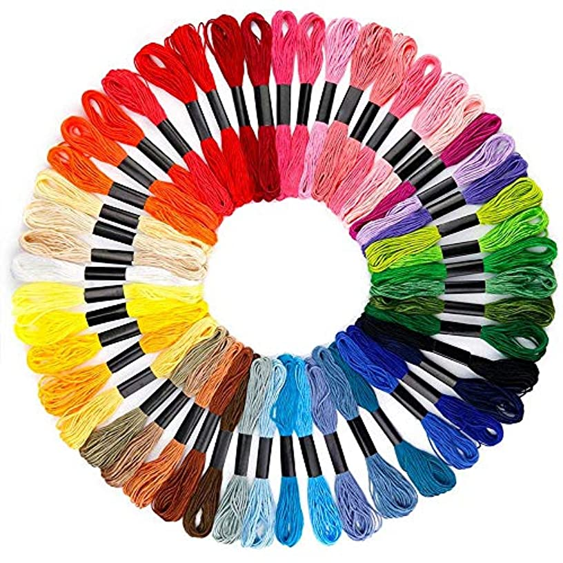 B&S FEEL Embroidery Floss Premium Rainbow Color Cross Stitch Threads Friendship Bracelets Floss Crafts Floss (50 Skeins Per Pack)