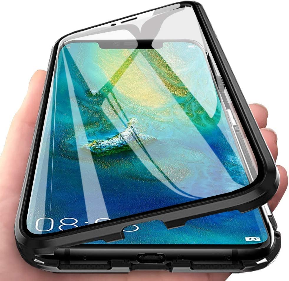 Case for Huawei P Smart 2019// Honor 10 Lite Cover Adsorption Magnetic Metal Frame Bumper Cover Transparent Front and Back Tempered Glass Case Thin 360 Degree Fully Body Protective Case Cover,Black