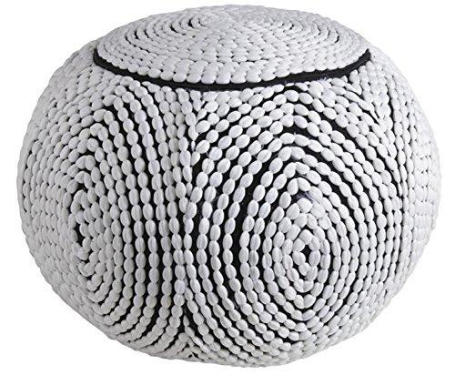 PEGANE Pouf Boule en Polyester, Blanc et Noir, Ø 50 x h 35 cm