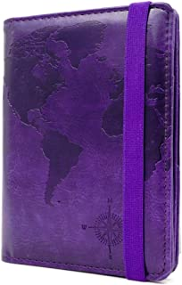RFID Blocking Passport Holder Cover Case,travel luggage passport wallet made with Purple Map Crazy Horse PU Leather for Men & Women