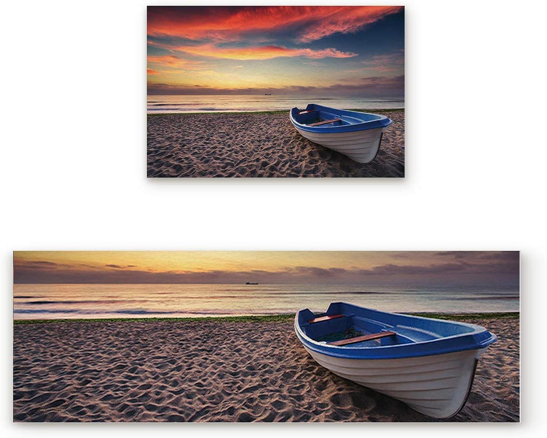 Greday Kitchen Rugs, Non Slip Mat Kitchen Rug Set 2 Piece Evening Glow Sunset Sandy Sea Beach Boat 19.7 x31.5 +19.7 x63