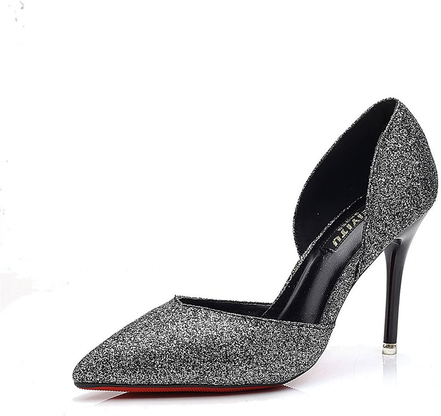 1TO9 Womens No-Closure Spikes Stilettos Pointed-Toe Black Sequin Pumps shoes - 4.5 B(M) US