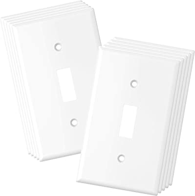 10 Pack White Single Pole Toggle Light Switch Wall Plate Cover 1 Gang Standard Size Single Gang Wall Plate Cover Amazon Com