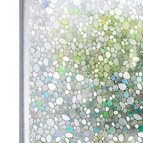 窓ガラス目隠しシート ステンドグラスシール 窓用 光による虹色変化 窓飾り 水で貼る はがせる 紫外線 uvカット フィルム 玉石柄 90x200cm