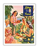 Pacifica Island Art Lafferty c.1957 Kunstdruck Libby's Hawaii - Luau Beach Party - Vintage Dosen Ananassaft Werbung von Hawaii 11' x 14'