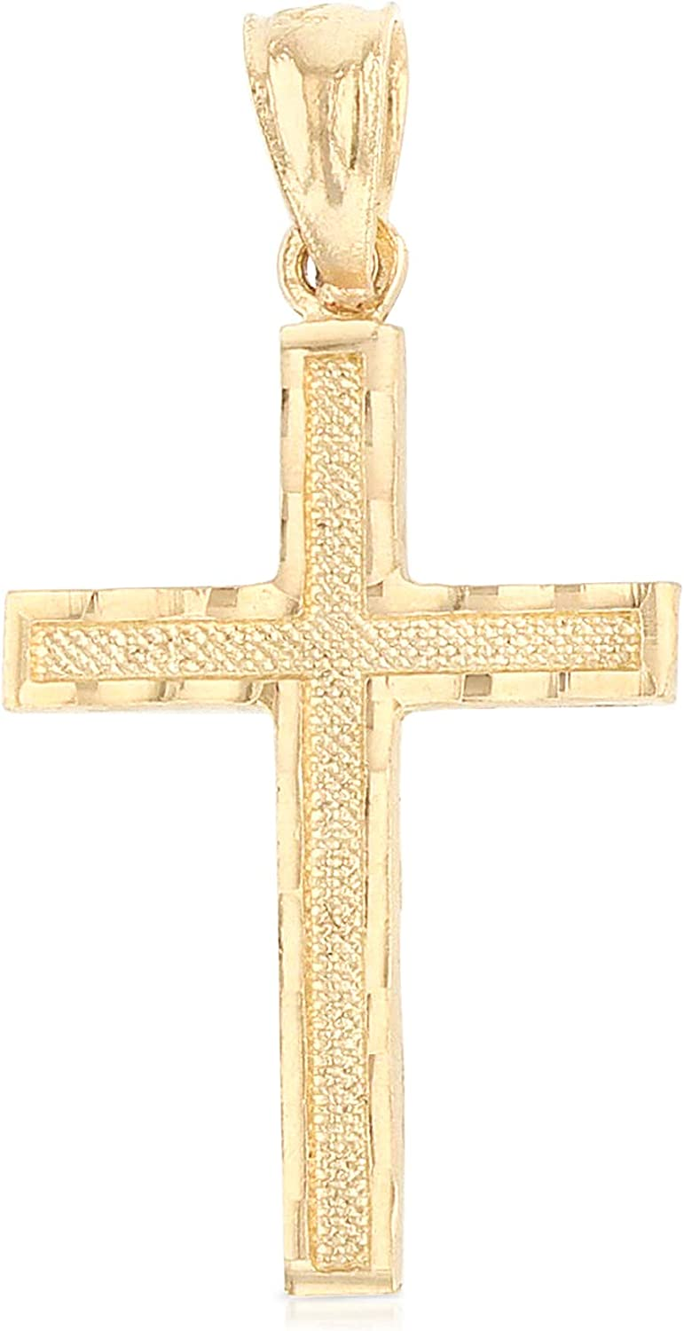 Ioka - 14K Yellow Gold Small Cross Pendant Religious Charm Thin Pendant For Necklace or Chain