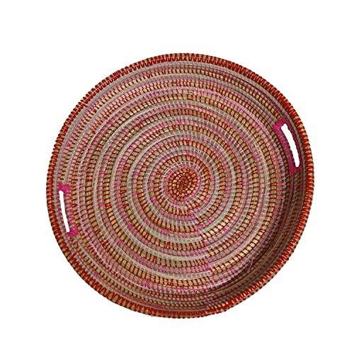 EA Déco Naturel & Design ABFTFUS Plateau Tchèkè, Plastique, Tricolore Fushia, 40 x 40 x 7 cm
