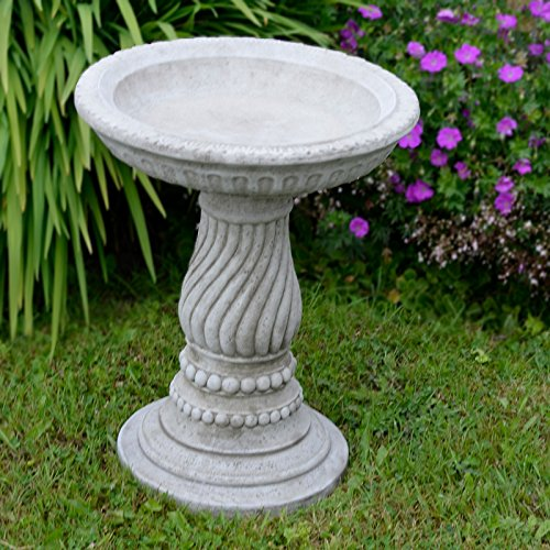 Photo of ONEFOLD TWIST BIRD BATH/FEEDER ORNAMENT DETAILED CAST STONE GARDEN