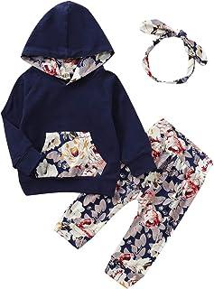 Xuefoo Set di Vestiti Stampati Floreali per Bambina Set di Felpe con Cappuccio per Bambini Set di Pantaloni 3PC