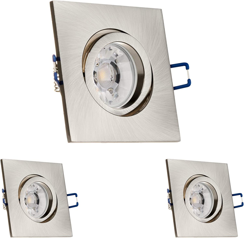 LEDANDO 3er Einbaustrahler Set für Spanndecken Silber gebürstet 7W DIMMBAR COB LED GU10 Deckenstrahler - Spots - Deckenspots - Deckspot