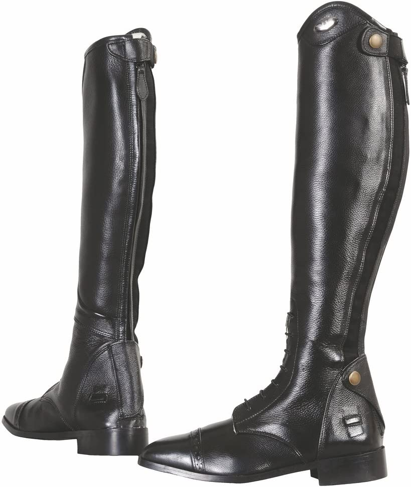 Black TuffRider Womens Starter Back Zip Field Boots in Synthetic Leather