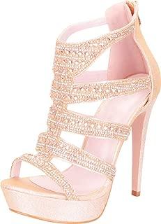 Cambridge Select Women's Cutout Caged Crystal Rhinestone Chunky Platform High Heel Dress Sandal