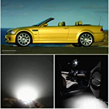 WLJH 10pieces 6000k Pure White Super Bright 2835 Chip Bulb lighting Error Free Canbus Car light Package for BMW 3 Series - E46 M3 convertible 1999-2005 + Tag Lts