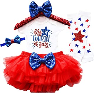 My 1st 4th of July Baby Girl Outfit Rompers +Tutu Dresses+Headband+Leggings 4Pcs Skirt Set