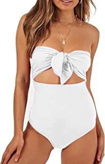 white strapless one piece swimsuit