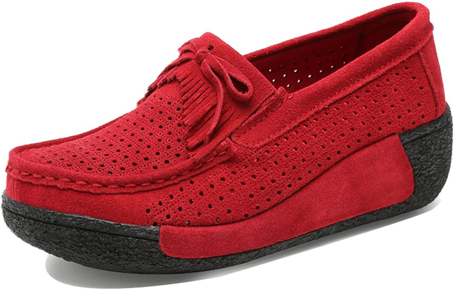 XL1319-1hongse37 EnllerviiD Women Slip On Platform Loafers shoes Cut-Out Fashion Tassel Wedges Sneakers Red 6 B(M) US