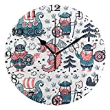 GoodLucke Reloj de Pared de dragón Vikingo Animal Reloj Redondo silencioso sin tictac para decoración de hogar de Oficina de Sala de Estar de Dormitorio