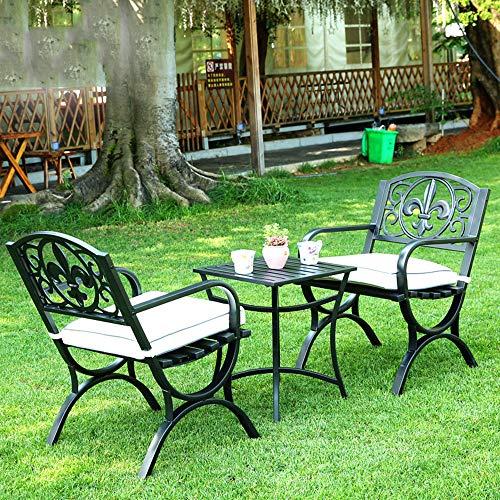 Juego de muebles de restaurante y mesa de jardín de 3 piezas, 2 sillas de parque de jardín y Mesa cuadrada antioxidante metálica, Para exterior terraza Combinación de mesa y silla para todo clima