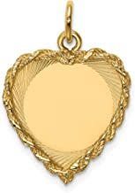 14k Yellow Gold .013 Gauge Engravable Heart Rope Disc Pendant Charm Necklace Framed Fine Jewelry For Women