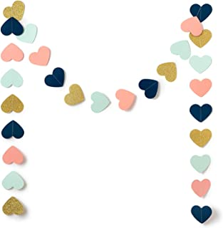 9 Feet Heart Paper Garland Decorations, Heart Hanging Paper Banner Bunting (Navy, Mint, Coral, Gold Glitter) for Wedding, Baby Shower, Bridal Shower, Birthday Party