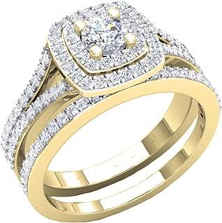 1.50 Carat (ctw) 10K Gold Round Cubic Zirconia Ladies Halo Style Engagement Ring Set 1 1/2 CT
