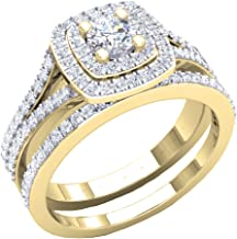 Dazzlingrock Collection 1.50 Carat (ctw) 10K Gold Round Cubic Zirconia Ladies Halo Style Engagement Ring Set 1 1/2 CT