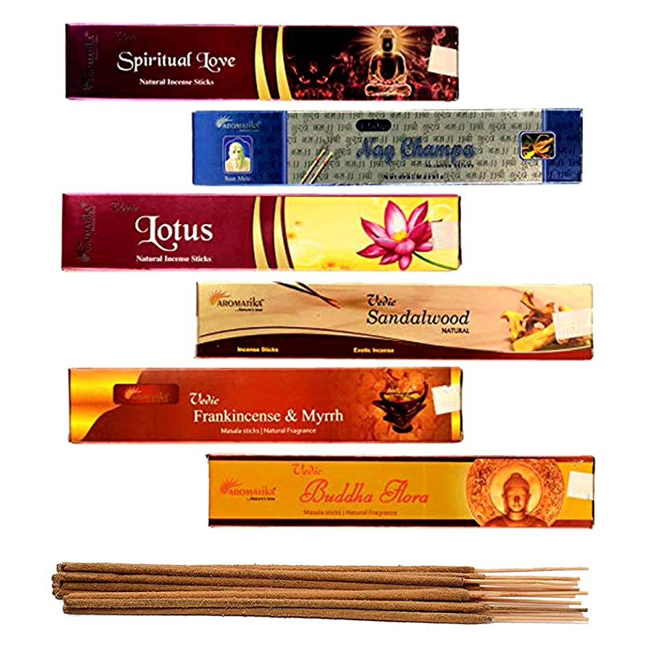 スプーン原告ギネスaromatika 6?Assorted Masala Incense Sticks Vedic Nag Champa、サンダルウッド、ブッダFlora、ロータス、Frankincense & Myrrh、Spiritual Love WithメタルIncense Stick Holder