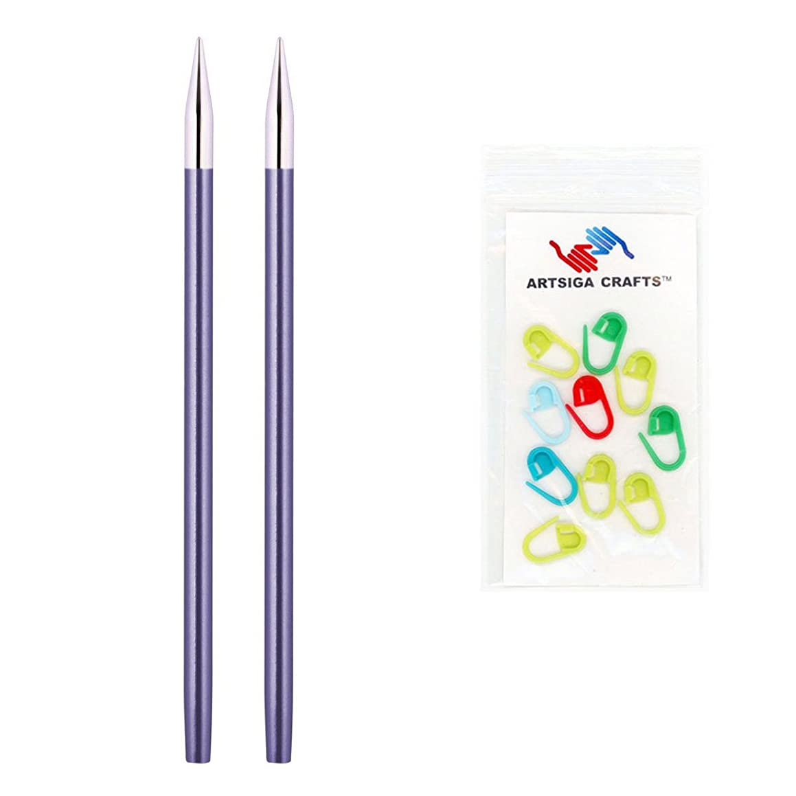 Knitter's Pride Zing Special Interchangeable 3.5in. Knitting Needle Tips Size US 4 (3.5mm) Bundle with 10 Artsiga Crafts Stitch Markers 140231