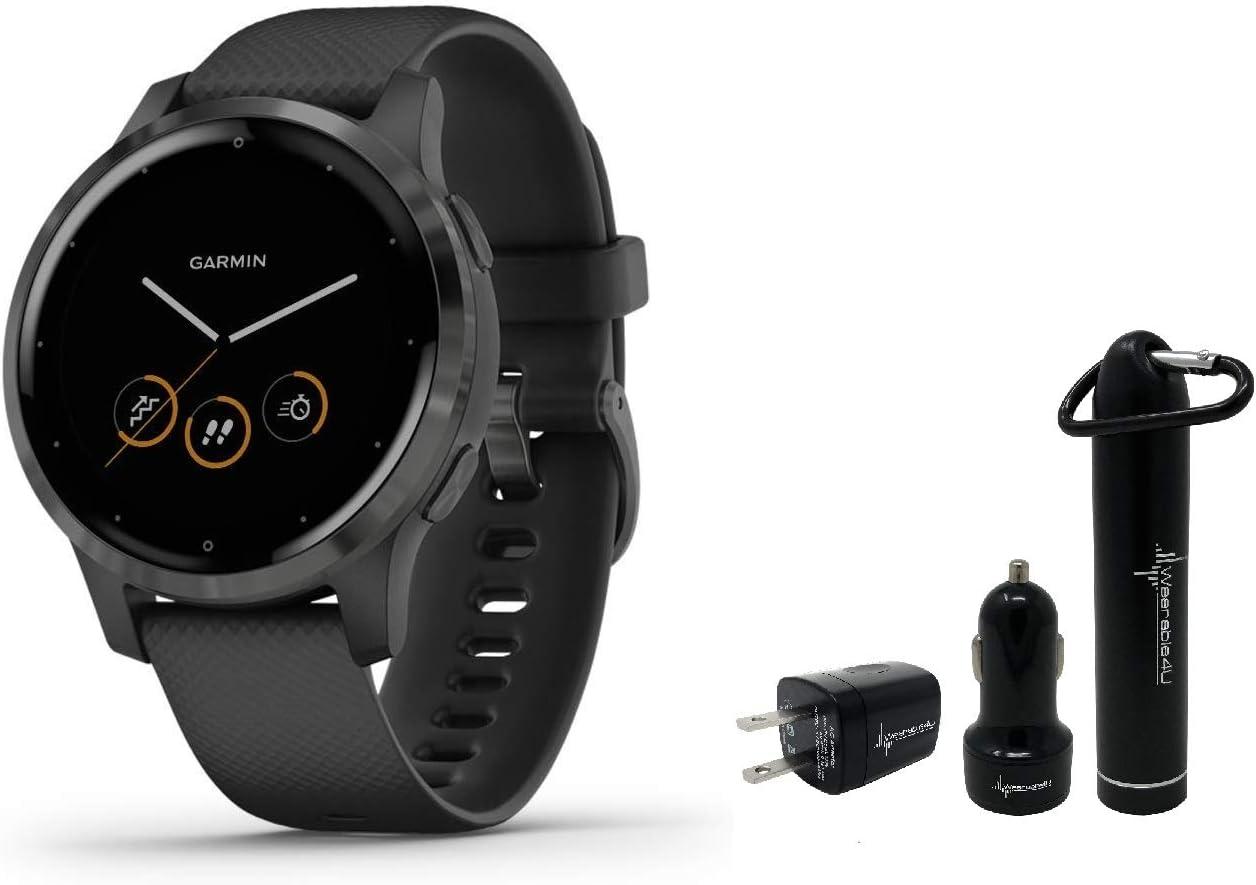 Garmin Vivoactive 4S GPS Smartwatch and Wearable4U Power Pack Bundle (Black/Slate)