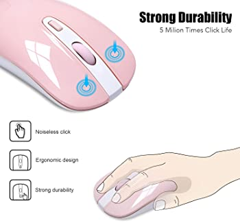 Wireless Computer Mouse, Cimetech 2.4G Slim Cordless Mouse Less Noise for Laptop Ergonomic Optical with Nano Receiver...