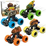 Dinosaur Toys for 3-6 Year Old Boy - 4 Pack Pull Back Dinosaur Cars for Age 3-6 Boys Child Monster Trucks Dino Cars Toys for 3,4,5,6 Year Old Boys Christmas Birthday Gifts for Kids