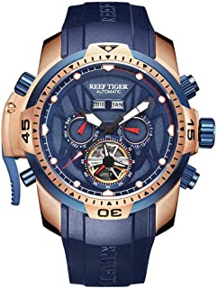 Reef Tiger Military Watches for Men Rose Gold Complicated Blue Dial Automatic Sport Watches RGA3532