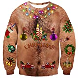 RAISEVERN Unisex Ugly Christmas Sweatshirts 3D Sexy Hairy Bare Chest Light-up Bulb Candle Bell Trees Print Funny Xmas Party Pullover Long Sleeve Shirts Cool Holiday Festival Sweater for Mens Womens