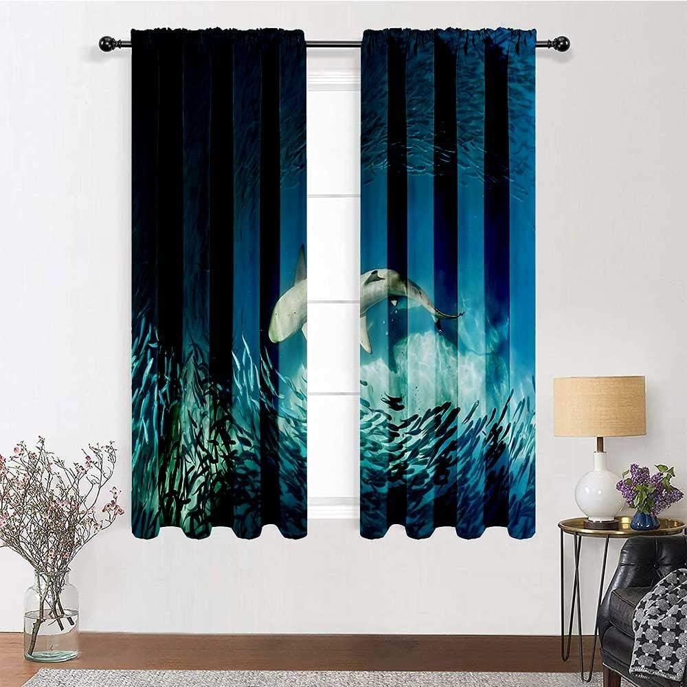 Adorise Curtain Panel Shark and Small W 割引 Wilderness in Ocean 驚きの価格が実現 Fish